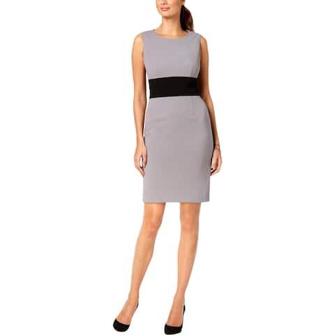 Kasper Womens Sheath Dress Sleeveless Colorblock