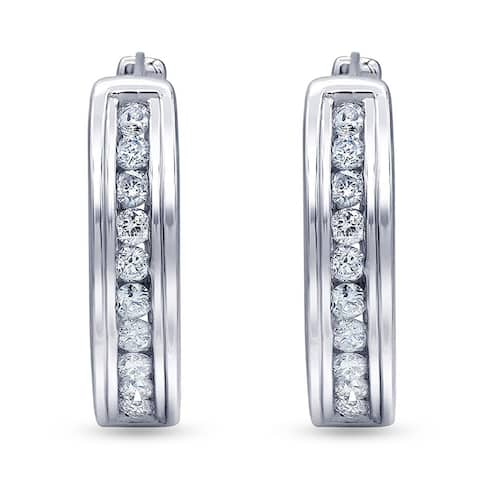 1/4 Carat Diamond, Channel Set sterling Silver White Round Lab Grown Diamond Hoop Earring (I,SI1) by Grown Brilliance