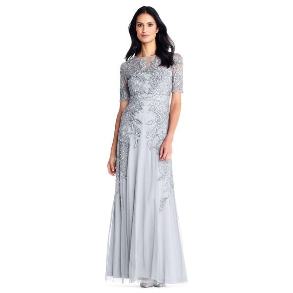 Shop Adrianna Papell Vine Beaded Gown Illusion Short Sleeve 90de64bcf
