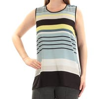 VINCE CAMUTO Womens Blue Striped Sleeveless Jewel Neck Top  Size: XL