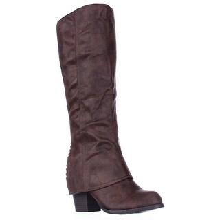 Fergalicious Lundry Back Stitch Hidden Heel Western Boots - Cognac