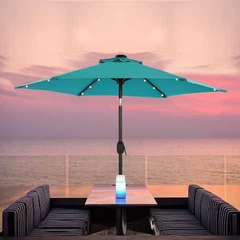Bonosuki 7.5ft LED Patio Umbrella with Tilt and Crank, 6 Ribs