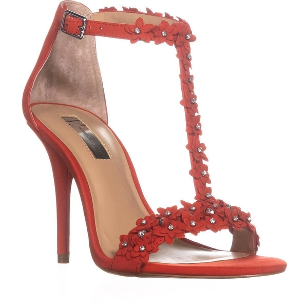 I35 Rosiee Flower T-Strap Sandals, Cherry Red
