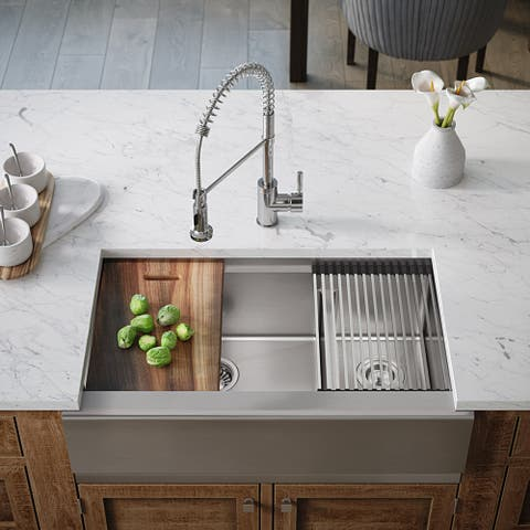 407L-LEDGE Double Bowl Stainless Steel Apron Workstation Sink