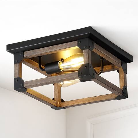 "Cheshire 13"" 2-Light Iron LED Flush Mount, Brown/Black by JONATHAN Y"