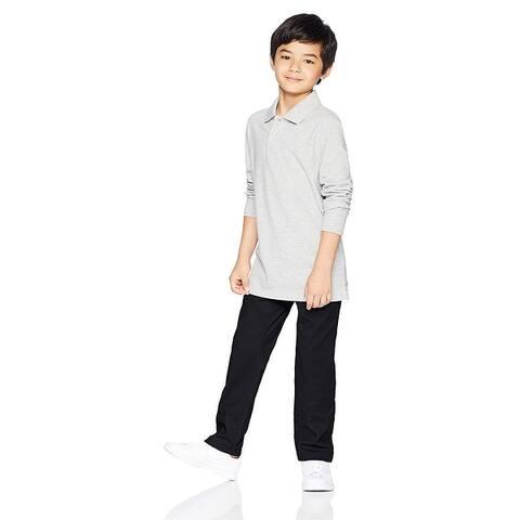 Essentials Big Boys' Straight Leg Flat Front Uniform Chino Pant, Black...