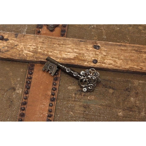 Steampunk Large Gear Key Pin Costume Jewelry Adult - Brown