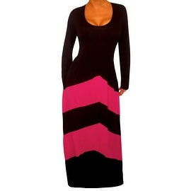 Funfash Plus Size Dress Black Pink Chevron Slimming Womens Maxi Dress