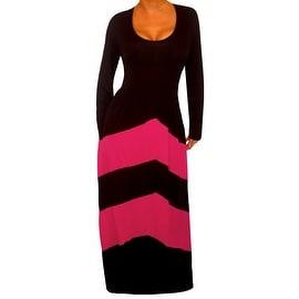 Funfash Plus Size Dress Black Pink Chevron Slimming Womens Maxi Dress