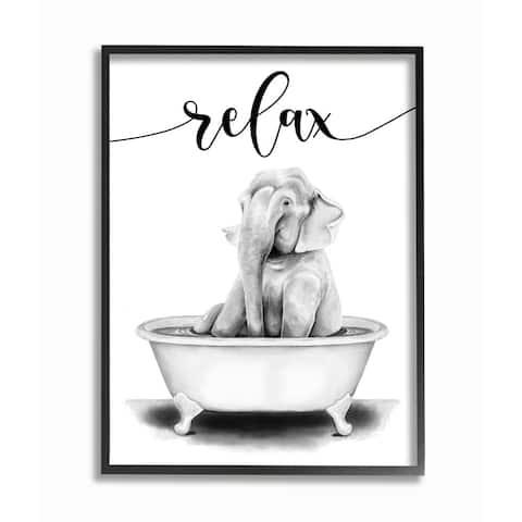 Stupell Industries Elephant Bathroom Relax Text Animal Tub Sketch Framed Wall Art - White