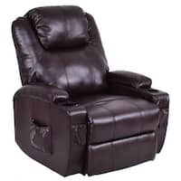 Costway Electric Power Lift Chair Recliner PU Leather Padded Seat w/ Remote & Cup Holder - Brown