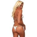 Women's White Camo Authentic True Timber Bikini Tie Side Thong Only Beach Swimwear - Thumbnail 2