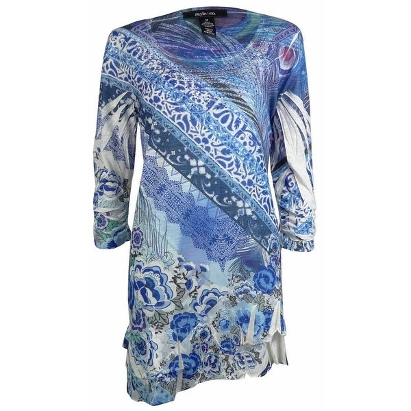 23ee0445931 Shop Style & Co. Women's Embellished Printed Pleated Knit Top - Peacock  Cape - 0X - Free Shipping On Orders Over $45 - Overstock - 14696550