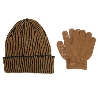 CTM® Kids' 4-7 Ribbed Hat and Gripper Gloves Set - One Size