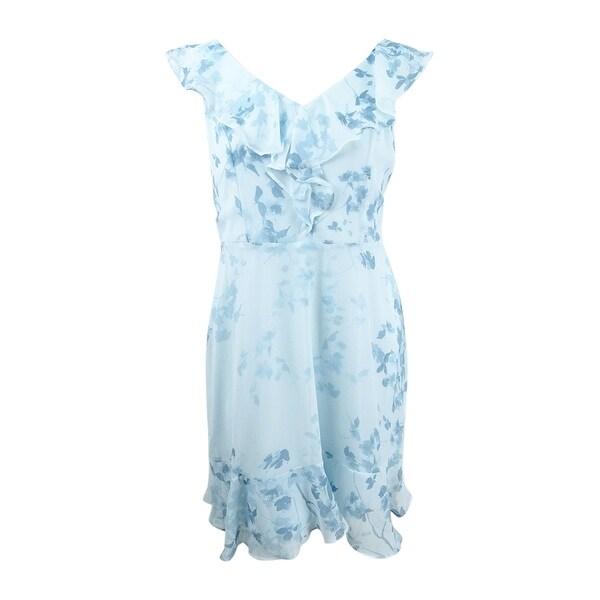 DKNY Women's Floral-Print Ruffle Dress (6, Blue Multi) - Blue Multi - 6
