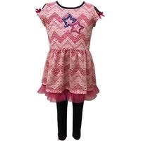 Caeli Kids Little Girls Pink Chevron Knit Top Legging 2 Pc Outfit