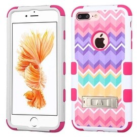 Insten Purple/ Pink Camo Wave Tuff Hard PC/ Silicone Dual Layer Hybrid Case Cover with Stand For Apple iPhone 7 Plus