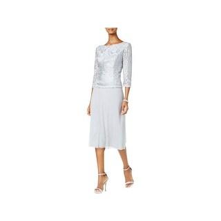 Alex Evenings Womens Petites Evening Dress Lace Tea-Length
