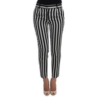 Dolce & Gabbana White Black Cotton Silk Capris Pants - it40-s