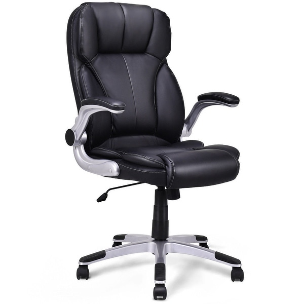 shop costway high back executive office chair pu leather swivel desk