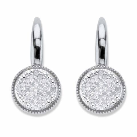 Platinum over Sterling Silver Genuine Diamond Lever Back Drop Earrings