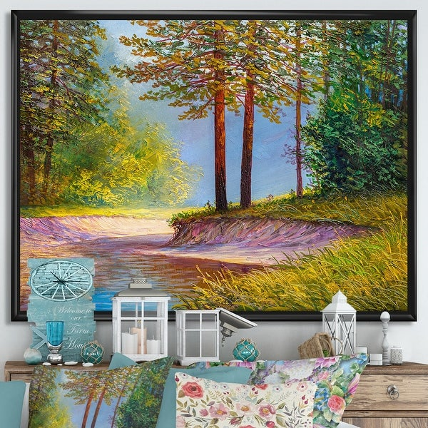 Designart 'Two Trees In Summer Sunshine By Lonely Forest Road' Farmhouse Framed Canvas Wall Art Print. Opens flyout.