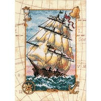 "Gold Petite Voyage At Sea Counted Cross Stitch Kit-5""X7"" 18 Count"