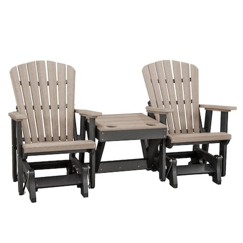 OS Home and Office Model 515WWBK-K Double Glider with Center Table in Weatherwood with Black Base