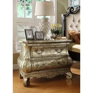 Liege Bombe Night Stand / Bed Side Table With Silver Leaf Finish