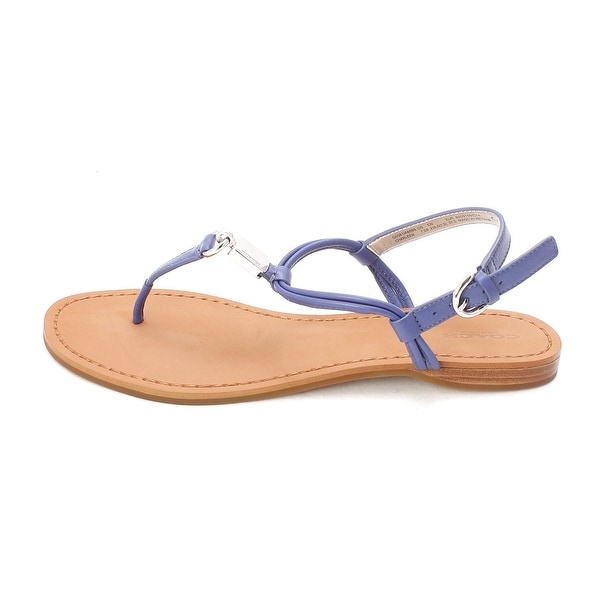 COACH Women's Charleen Lacquer Blue Pebble Leather Sandal