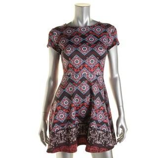 Aqua Womens Printed Scuba Wear to Work Dress