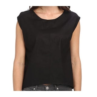 Townsen NEW Black Women's Size XS Solid Leather High-Low Blouse