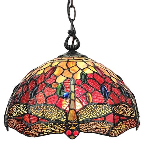 Tiffany Style Dragonfly Hanging Lamp AM1034HL14B Amora Lighting