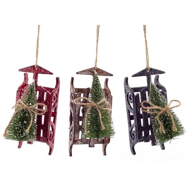 """Pack of 18 Red, Brown and Black Sled with Sisal Tree Christmas Ornaments 6"""""""