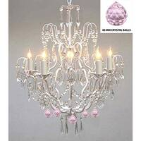 Authentic Empress Crystal(TM) Wrought Iron Chandelier With Pink Crystal Balls  - White