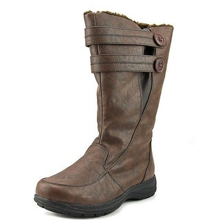 Weatherproof Tori Wide Calf Women Round Toe Leather Brown Winter Boot