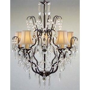 Swarovski Elements Crystal Trimmed Chandelier Lighting Wrought Iron & Crystal Chandelier Lighting & White Sha