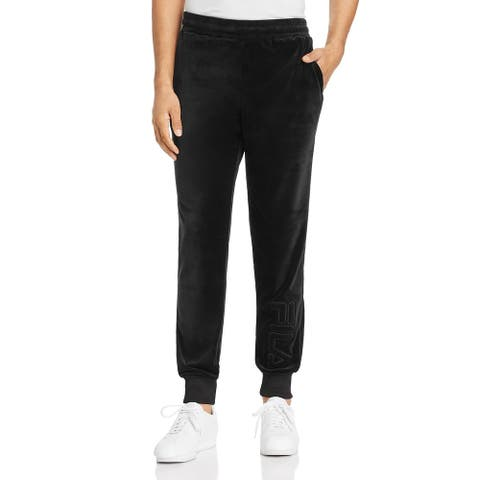 Fila Mens Jogger Pants Velour Logo - Black - M
