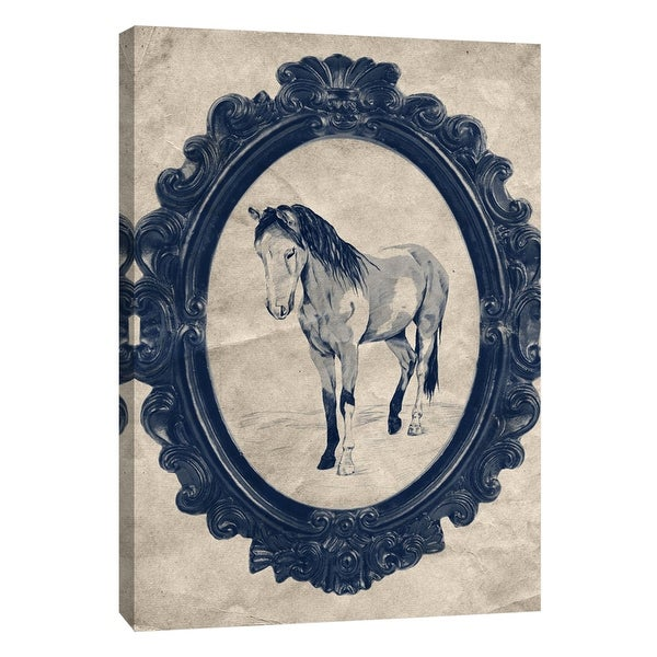 "PTM Images 9-108967 PTM Canvas Collection 10"" x 8"" - ""Framed Paint Horse in Navy"" Giclee Horses Art Print on Canvas"