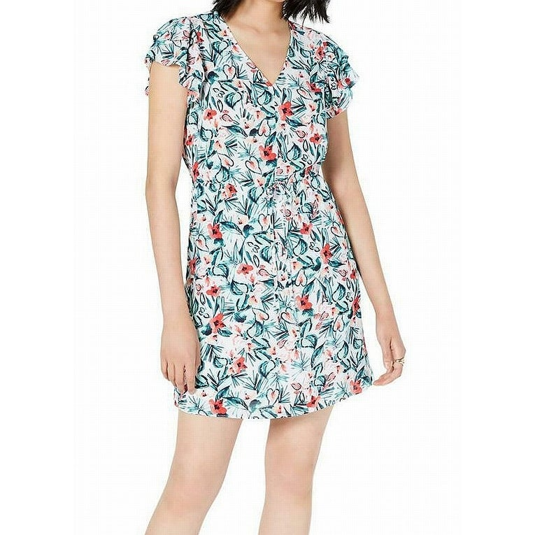 Maison JulesRuffle-Trimmed Floral-Print ShirtdressPurple