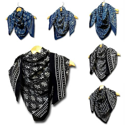 Large Cotton Scarfs for Women Lightweight Soft Sheer Neck Scarf, Head Scarf, Block Print DABU Summer Floral Scarf