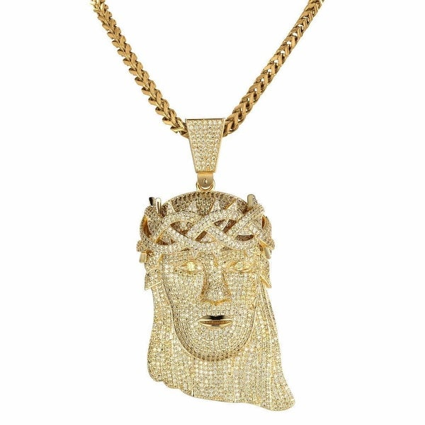 18k Gold Tone Iced Out Lab Diamond Micro Pave Jesus Piece Chain Necklace