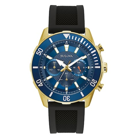 Bulova Mens Stainless Blue Dial Chronograph Black Silicone Strap Watch - Gold-Tone