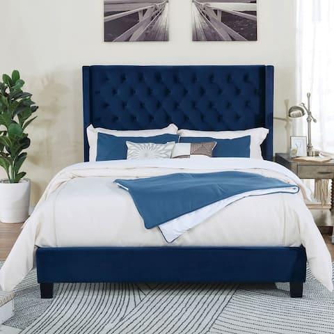 Furniture of America Hamit Transitional Flannelette Platform Bed