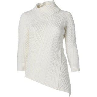 Vince Camuto Womens Plus Sweater Cable Knit Asymmetric