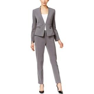 Tahari ASL Womens Petites Pant Suit 2 Piece Zip-Pocket