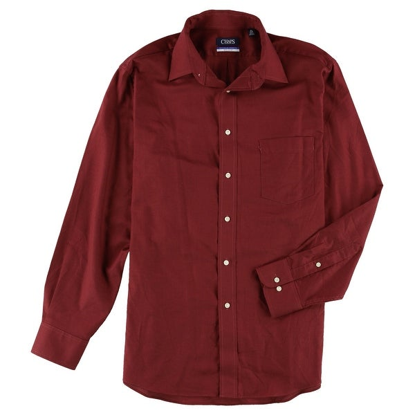"""Chaps Mens Wrinkle Free Regular Fit Button Up Dress Shirt, red, 16.5"""" Neck 34""""-35"""" Sleeve. Opens flyout."""