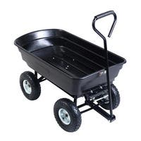 Costway 600lb Garden Dump Cart Dumper Wagon Carrier Wheel Barrow Air Tires Heavy Duty - Black