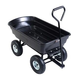 Costway 600lb Garden Dump Cart Dumper Wagon Carrier Wheel Barrow Air Tires Heavy Duty - Black