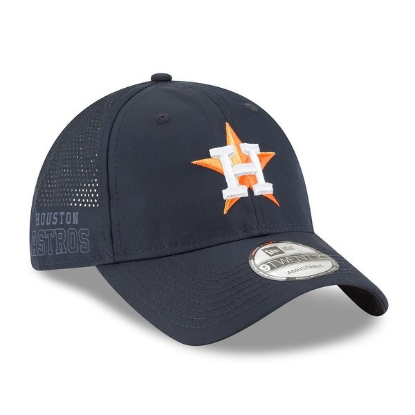 New Era Mens Houstan Astros Perforated Slick Hat, Navy, Os